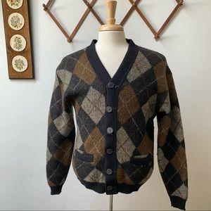 Vintage Thick Knit Argyle Cardigan